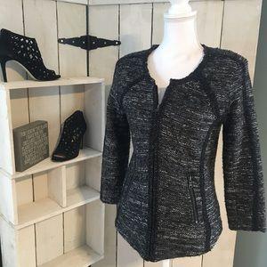 Ann Taylor collarless zippered structured blazer